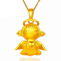 24 K Gold Color Plated Pendant Brass Angel 24K gold plated vacuum protective color 15x23mm Hole:Approx 3x5mm 20PCs/Lot