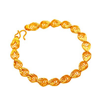 24 -каратного золота Цвет позолоченный браслет, Латунь, Каплевидная форма, Позолоченные 24k, цветочный отрез & вакуум защитные цвета, 8mm, длина:Приблизительно 7 дюймовый, 10пряди/Лот, продается Лот