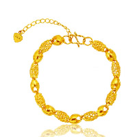 24 -каратного золота Цвет позолоченный браслет, Латунь, с 1.4lnch наполнитель цепи, Позолоченные 24k, вакуум защитные цвета & отверстие, 241mm, длина:Приблизительно 8 дюймовый, 10пряди/Лот, продается Лот
