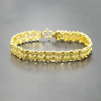 24 -каратного золота Цвет позолоченный браслет, Латунь, Позолоченные 24k, вакуум защитные цвета, 8mm, длина:Приблизительно 7.4 дюймовый, 10пряди/Лот, продается Лот