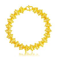 24 -каратного золота Цвет позолоченный браслет, Латунь, Корона, Позолоченные 24k, вакуум защитные цвета, 11mm, длина:Приблизительно 7.4 дюймовый, 10пряди/Лот, продается Лот