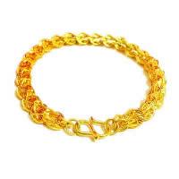 24 -каратного золота Цвет позолоченный браслет, Латунь, Позолоченные 24k, вакуум защитные цвета, 6mm, длина:Приблизительно 7.4 дюймовый, 10пряди/Лот, продается Лот