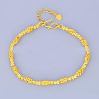 24 -каратного золота Цвет позолоченный браслет, Латунь, с 1lnch наполнитель цепи, Позолоченные 24k, вакуум защитные цвета, 4mm, длина:Приблизительно 6.4 дюймовый, 10пряди/Лот, продается Лот