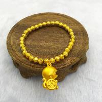 24 -каратного золота Цвет позолоченный браслет, Латунь, обезьяна, Позолоченные 24k, браслет-оберег & вакуум защитные цвета, 6mm, длина:Приблизительно 6.4 дюймовый, 5пряди/Лот, продается Лот