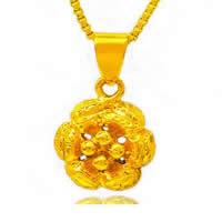 24 K Złoty Kolor Plated wisiorek, Mosiądz, Kwiat, pozłacane 24-karatowym złotem, próżniowe ochronny kolor, 10x12mm, otwór:około 3x5mm, 10komputery/wiele, sprzedane przez wiele