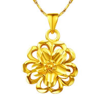 24 K Gold Color Plated Pendant Brass Flower 24K gold plated vacuum protective color 17x18mm Hole:Approx 3x5mm 10PCs/Lot