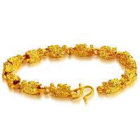 24 -каратного золота Цвет позолоченный браслет, Латунь, Дракон, Позолоченные 24k, вакуум защитные цвета, 6mm, длина:Приблизительно 7.8 дюймовый, 5пряди/Лот, продается Лот