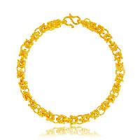 24 -каратного золота Цвет позолоченный браслет, Латунь, Дракон, Позолоченные 24k, вакуум защитные цвета, 6mm, длина:Приблизительно 8.6 дюймовый, 5пряди/Лот, продается Лот