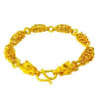 24 -каратного золота Цвет позолоченный браслет, Латунь, Дракон, Позолоченные 24k, вакуум защитные цвета, 7mm, длина:Приблизительно 7.5 дюймовый, 3пряди/Лот, продается Лот
