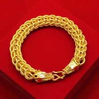 24 -каратного золота Цвет позолоченный браслет, Латунь, Дракон, Позолоченные 24k, вакуум защитные цвета, 12mm, длина:Приблизительно 8.6 дюймовый, 3пряди/Лот, продается Лот