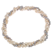 Natural Freshwater Pearl Necklace brass slide clasp 3-strand   two tone 7-8mm Sold Per Approx 18.5 Inch Strand