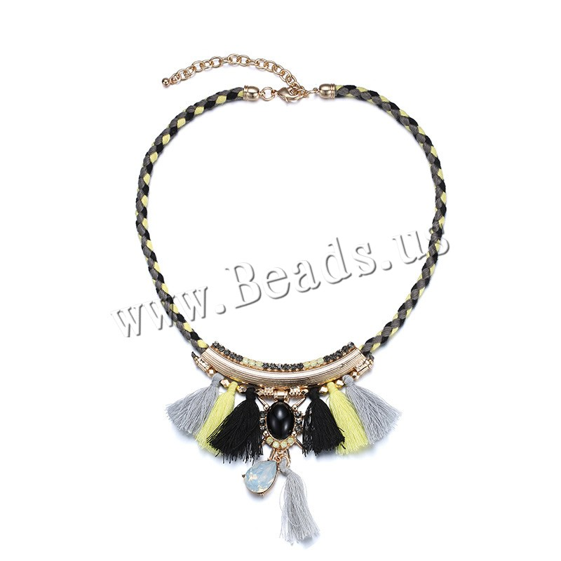 Buy Fashion Fringe Necklace Wool Resin & Zinc Alloy 8cm extender chain KC gold color plated faceted 85x100mm Length:Approx 17.5 Inch 3Strands/Bag Sold Bag