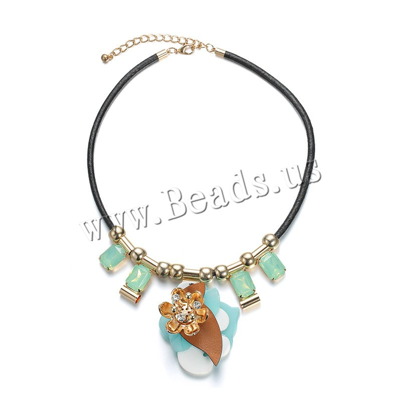 Buy PU Leather Cord Necklace Acrylic PU Leather Cord & Brass 8cm extender chain Flower KC gold color plated faceted & rhinestone 75mm Length:Approx 18 Inch 3Strands/Bag Sold Bag