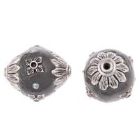 Indonezja koraliki, Stop cynku, ze Indonezja, Bęben, Platerowane kolorem starego srebra, z kamieniem, bez zawartości ołowiu i kadmu, 23x20mm, otwór:około 1.5mm, sprzedane przez PC