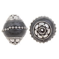 Indonesia Beads, Zinc Alloy, with Indonesia, Drum, antique silver color plated, lead & cadmium free, 15x18mm, Hole:Approx 1mm, Sold By PC