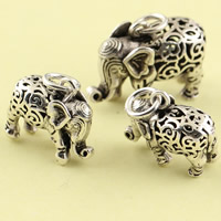 Hollow Brass Pendants, Elephant, antique silver color plated, different size for choice, lead & cadmium free, Hole:Approx 3.5mm, Sold By PC