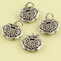Hollow Brass Pendants, Longevity Lock, antique silver color plated, lead & cadmium free, 15x18x4.10mm, Hole:Approx 3.5mm, Sold By PC