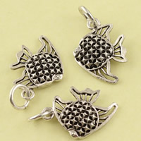 Hollow Brass Pendants, Fish, antique silver color plated, lead & cadmium free, 12.20x21x2.50mm, Hole:Approx 3.5mm, Sold By PC
