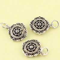 Hollow Brass Pendants, Flower, antique silver color plated, lead & cadmium free, 14.50x21.70x3.80mm, Hole:Approx 3.5mm, Sold By PC