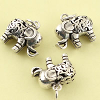 Hollow Brass Pendants, Elephant, antique silver color plated, lead & cadmium free, 16x7x18mm, Hole:Approx 3.5mm, Sold By PC