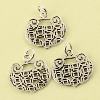 Hollow Brass Pendants, Longevity Lock, antique silver color plated, lead & cadmium free, 21.30x18.30x1.10mm, Hole:Approx 2.5mm, Sold By PC