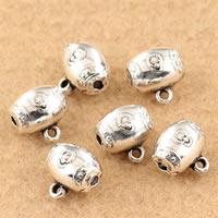 Mosiądz Koralik, Bęben, Platerowane kolorem starego srebra, bez zawartości ołowiu i kadmu, 10x10mm, otwór:około 1.5mm, sprzedane przez PC
