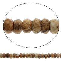 Picture Jasper Beads, Rondelle, faceted, 6x4mm, Hole:Approx 1mm, Length:Approx 15.5 Inch, 10Strands/Bag, Approx 100PCs/Strand, Sold By Bag