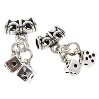 Hollow Brass Pendants, Dice, antique silver color plated, lead & cadmium free, 11x25x7mm, Hole:Approx 3mm, Sold By PC