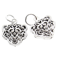 Hollow Brass Pendants, Flower, antique silver color plated, lead & cadmium free, 13x14x5mm, Hole:Approx 4mm, 10PCs/Bag, Sold By Bag