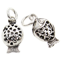 Hollow Brass Pendants, Fish, antique silver color plated, lead & cadmium free, 8x14x6mm, Hole:Approx 3mm, 10PCs/Bag, Sold By Bag