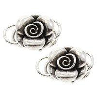 Brass Hook and Eye Clasp, Flower, antique silver color plated, lead & cadmium free, 15x13x8mm, Hole:Approx 5mm, Sold By PC