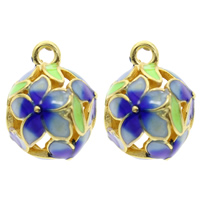 Cloisonne Pendant, Round, handmade, hollow, lead & cadmium free, 12x16mm, Hole:Approx 1mm, Sold By PC