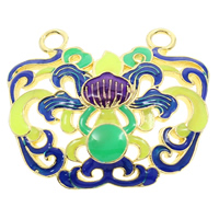 Cloisonne Pendant, Flower, handmade, lead & cadmium free, 30x27x4mm, Hole:Approx 3mm, Sold By PC