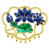 Cloisonne Connector, Flower, handmade, 1/8 loop, lead & cadmium free, 33x29x8mm, Hole:Approx 7x4mm, 2mm, Sold By PC