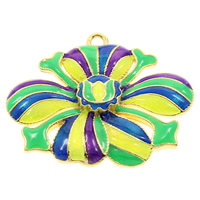 Cloisonne Pendant, Flower, handmade, lead & cadmium free, 33x27x3mm, Hole:Approx 2mm, Sold By PC