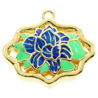 Cloisonne Bail Bead, Flower, handmade, hollow, lead & cadmium free, 24x22x9mm, Hole:Approx 2mm, Sold By PC