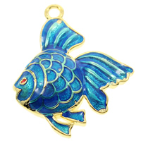 Cloisonne Pendant, Fish, handmade, lead & cadmium free, 22x27x4mm, Hole:Approx 2mm, Sold By PC