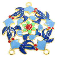 Cloisonne Connector, Flower, handmade, 1/2 loop & hollow, lead & cadmium free, 32x37x3mm, Hole:Approx 2mm, Sold By PC