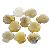 Jade Yellow Beads, Shell, 20x21x7mm, Hole:Approx 0.5mm, 50PCs/Bag, Sold By Bag