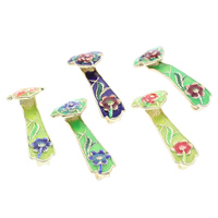 Cloisonne Pendants, handmade, more colors for choice, 15x36x8mm, Hole:Approx 4x9mm, 10PCs/Bag, Sold By Bag