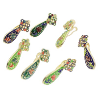 Cloisonne Pendants, Chinese Knot, handmade, more colors for choice, 16x39x12mm, Hole:Approx 2mm, 10PCs/Bag, Sold By Bag