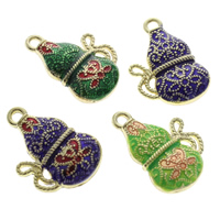 Cloisonne Pendants, Calabash, handmade, more colors for choice, 14x21x6mm, Hole:Approx 1.5mm, 10PCs/Bag, Sold By Bag