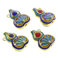 Cloisonne Pendants, Calabash, handmade, hollow, more colors for choice, 15x22x10mm, Hole:Approx 1mm, 10PCs/Bag, Sold By Bag