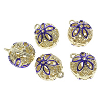Cloisonne Pendants, Round, handmade, hollow, 13x16mm, Hole:Approx 1mm, 10PCs/Bag, Sold By Bag