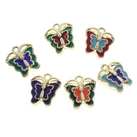 Cloisonne Pendants, Butterfly, handmade, more colors for choice, 13x14x4mm, Hole:Approx 1mm, 10PCs/Bag, Sold By Bag