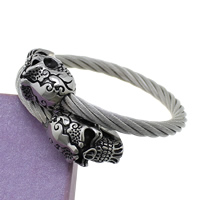 Stainless Steel Bangle, Skull, adjustable & blacken, 6mm, Inner Diameter:Approx 58mm, Length:Approx 7.5 Inch, Sold By PC