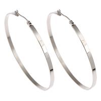 Stainless Steel Hoop Earring, original color, 59x53x3mm, Sold By Pair
