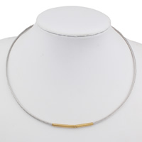 Stainless Steel Chain Necklace plated two tone 3mm Sold Per Approx 17 Inch Strand