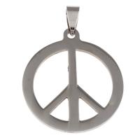 Roestvrij stalen sieraden Hangers, Roestvrij staal, Vrede Logo, oorspronkelijke kleur, 32x37x1mm, Gat:Ca 4x7mm, Verkocht door PC