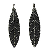 Synthetic Ivory Pendant, with Rhinestone Clay Pave & Brass, Feather, plumbum black color plated, black, 19x86x6mm, Hole:Approx 5x8mm, 3PCs/Lot, Sold By Lot